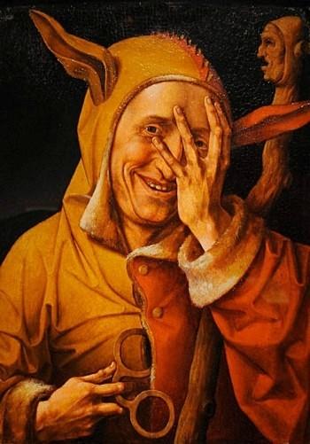 Portrait du fou regardant à travers ses doigts , exécutée vers 1500